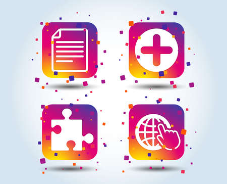 Plus add circle and puzzle piece icons. Document file and globe with hand pointer sign symbols. Colour gradient square buttons. Flat design concept. Vector
