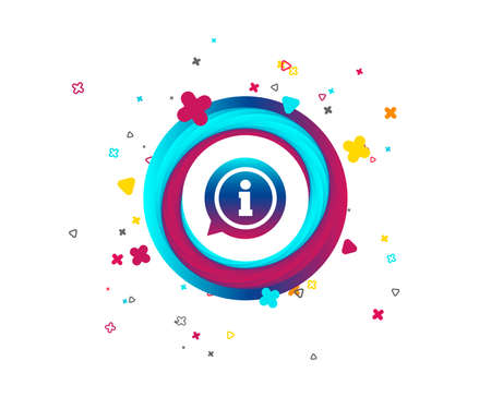 Information sign icon. Info speech bubble symbol. Colorful button with icon. Geometric elements. Vector