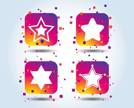 Star of David icons. Sheriff police sign. Symbol of Israel. Colour gradient square buttons. Flat design concept. Vector Imagens - 105825213
