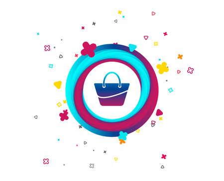 Woman bag icon. Female handbag sign. Glamour casual baggage symbol. Colorful button with icon. Geometric elements. Vector Foto de archivo - 105825214