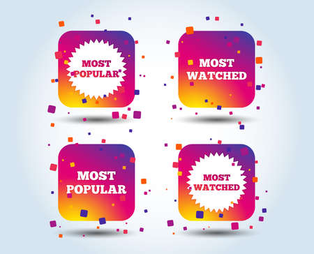 Most popular star icon. Most watched symbols. Clients or users choice signs. Colour gradient square buttons. Flat design concept. Vector