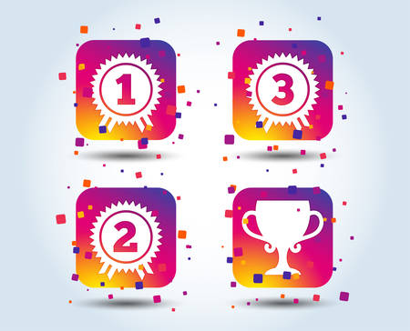 First, second and third place icons. Award medals sign symbols. Prize cup for winner. Colour gradient square buttons. Flat design concept. Vector