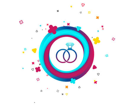 Wedding rings sign icon. Engagement symbol. Colorful button with icon. Geometric elements. Vector Stock Vector - 105825222