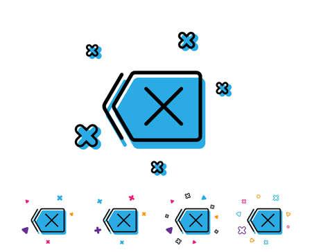 Delete line icon. Remove sign. Cancel or Close symbol. Line icon with geometric elements. Bright colourful design. Vector