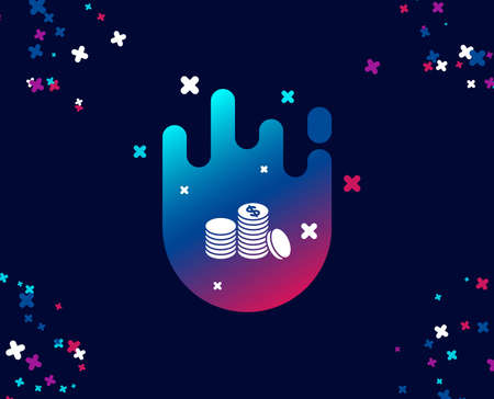 Coins money simple icon. Banking currency sign. Cash symbol. Cool banner with icon. Abstract shape with gradient. Vector