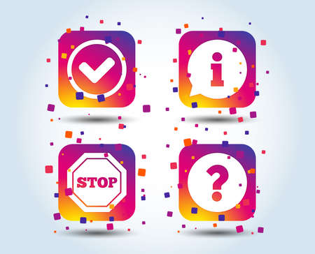 Information icons. Stop prohibition and question FAQ mark signs. Approved check mark symbol. Colour gradient square buttons. Flat design concept. Vector Vektorgrafik