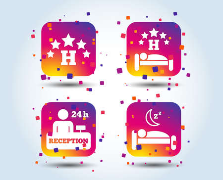 Five stars hotel icons. Travel rest place symbols. Human sleep in bed sign. Hotel 24 hours registration or reception. Colour gradient square buttons. Flat design concept. Vector