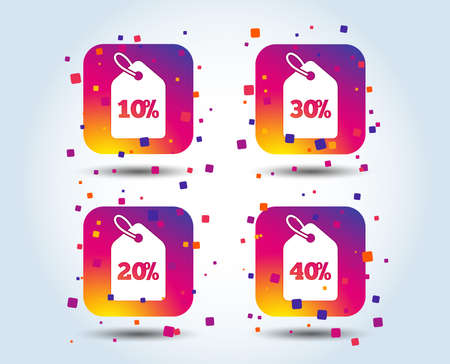 Sale price tag icons. Discount special offer symbols. 10%, 20%, 30% and 40% percent discount signs. Colour gradient square buttons. Flat design concept. Vector