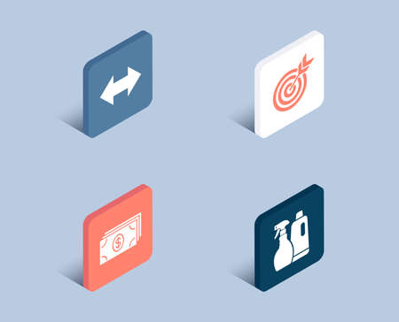 Set of Target, Banking and Sync icons. Shampoo and spray sign. Targeting, Money payment, Synchronize. Washing liquids.  3d isometric buttons. Flat design concept. Vector
