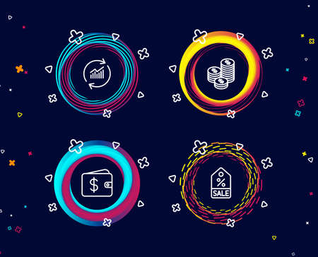 Set of Update data, Coins and Dollar wallet icons. Sale coupon sign. Sales statistics, Cash money, Discount tag.  Circle banners with line icons. Gradient colors shapes. Vector