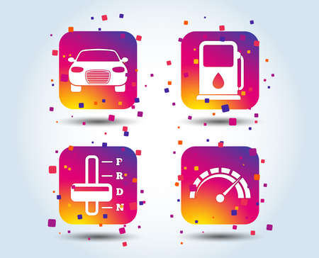 Transport icons. Car tachometer and automatic transmission symbols. Petrol or Gas station sign. Colour gradient square buttons. Flat design concept. Vector Illustration