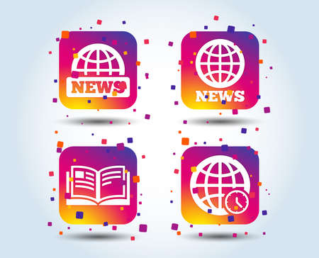 News icons. World globe symbols. Open book sign. Education literature. Colour gradient square buttons. Flat design concept. Vector Ilustrace