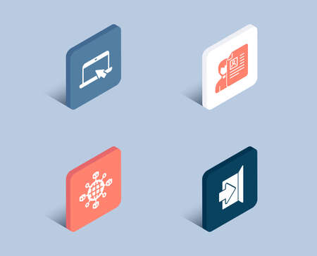 Set of Logistics network, Portable computer and Job interview icons. Exit sign. International tracking, Notebook device, Cv file. Escape.  3d isometric buttons. Flat design concept. Vector Archivio Fotografico - 105825247