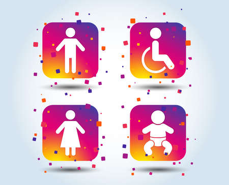 WC toilet icons. Human male or female signs. Baby infant or toddler. Disabled handicapped invalid symbol. Colour gradient square buttons. Flat design concept. Vector Illustration