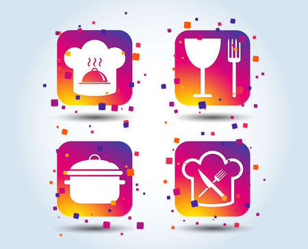 Chief hat and cooking pan icons. Crosswise fork and knife signs. Boil or stew food symbols. Colour gradient square buttons. Flat design concept. Vector