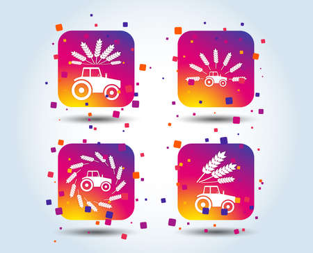 Tractor icons. Wreath of Wheat corn signs. Agricultural industry transport symbols. Colour gradient square buttons. Flat design concept. Vector Archivio Fotografico - 111102480
