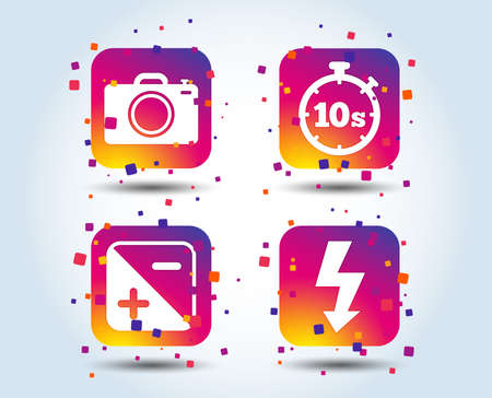 Photo camera icon. Flash light and exposure symbols. Stopwatch timer 10 seconds sign. Colour gradient square buttons. Flat design concept. Vector