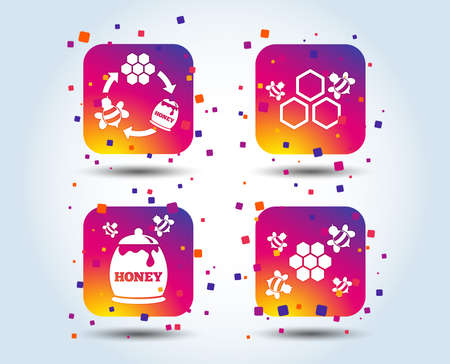 Honey icon. Honeycomb cells with bees symbol. Sweet natural food signs. Colour gradient square buttons. Flat design concept. Vector Çizim