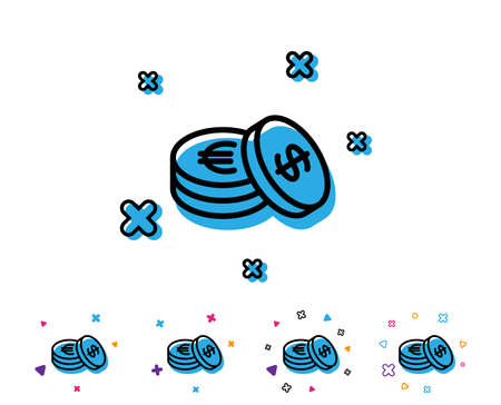 Coins money line icon. Banking currency sign. Euro and Dollar Cash symbols. Line icon with geometric elements. Bright colourful design. Vector