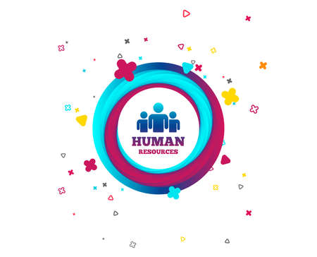 Human resources sign icon. HR symbol. Workforce of business organization. Group of people. Colorful button with icon. Geometric elements. Vector Foto de archivo - 105825256