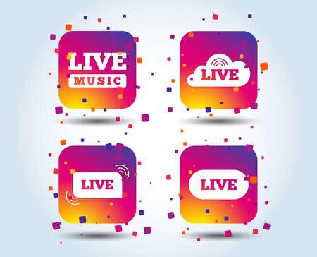 Live music icons. Karaoke or On air stream symbols. Cloud sign. Colour gradient square buttons. Flat design concept. Vector Illusztráció