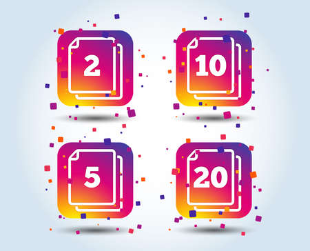 In pack sheets icons. Quantity per package symbols. 2, 5, 10 and 20 paper units in the pack signs. Colour gradient square buttons. Flat design concept. Vector