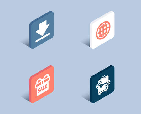 Set of Downloading, Sale offer and Globe icons. Luggage sign. Load information, Gift box, Internet world. Baggage locker.  3d isometric buttons. Flat design concept. Vector