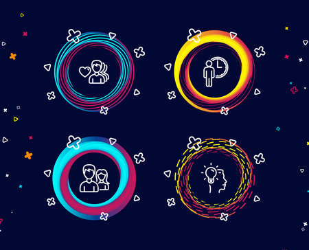 Set of Waiting, Man love and Couple icons. Idea sign. Service time, Romantic people, Male and female. Professional job.  Circle banners with line icons. Gradient colors shapes. Vector Illustration