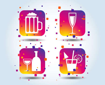 Alcoholic drinks icons. Champagne sparkling wine and beer symbols. Wine glass and cocktail signs. Colour gradient square buttons. Flat design concept. Vector