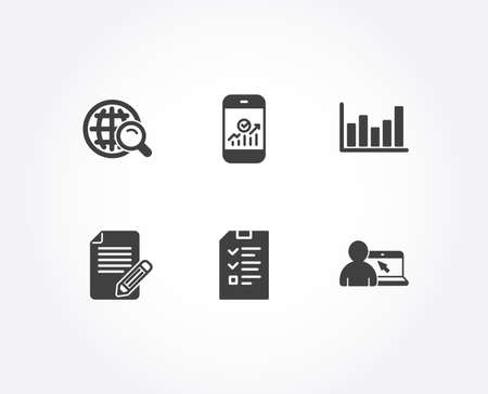 Set of Article, Internet search and Interview icons. Column chart, Smartphone statistics and Online education signs. Feedback, Web finder, Checklist file. Vector Illusztráció