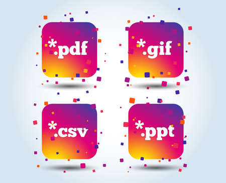 Document icons. File extensions symbols. PDF, GIF, CSV and PPT presentation signs. Colour gradient square buttons. Flat design concept. Vector