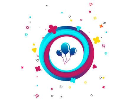 Icône de signe de ballon. Ballon à air d'anniversaire avec symbole de corde ou de ruban. Bouton coloré avec icône. Éléments géométriques. Vecteur