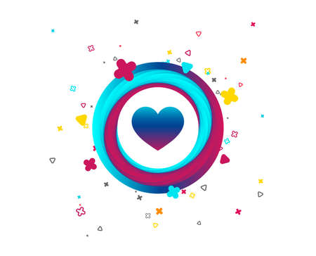 Love icon. Heart sign symbol. Colorful button with icon. Geometric elements. Vector