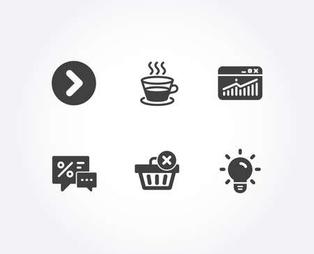 Set of Coffee cup, Discounts and Website statistics icons. Delete purchase, Forward and Light bulb signs. Tea mug, Best offer, Data analysis. Remove from basket, Next direction, Lamp energy. Vector Illustration