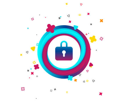 Lock sign icon. Locker symbol. Colorful button with icon. Geometric elements. Vector