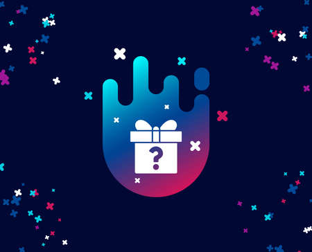 Gift box with Question mark simple icon. Present or Sale sign. Birthday Shopping symbol. Package in Gift Wrap. Cool banner with icon. Abstract shape with gradient. Vector Ilustração