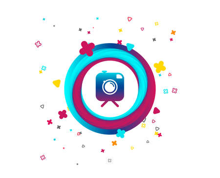 Hipster photo camera sign icon. Retro camera on tripod symbol. Colorful button with icon. Geometric elements. Vector