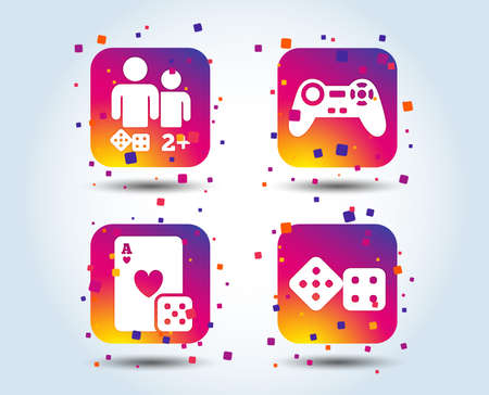 Gamer icons. Board games players signs. Video game joystick symbol. Casino playing card. Colour gradient square buttons. Flat design concept. Vector