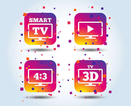 Smart TV mode icon. Aspect ratio 4:3 widescreen symbol. 3D Television sign. Colour gradient square buttons. Flat design concept. Vector