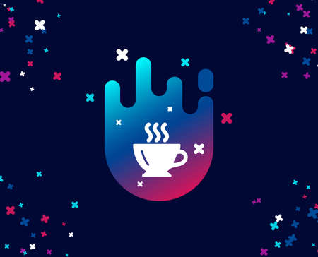 Coffee cup simple icon. Hot drink sign. Cappuccino symbol. Cool banner with icon. Abstract shape with gradient. Vector  イラスト・ベクター素材