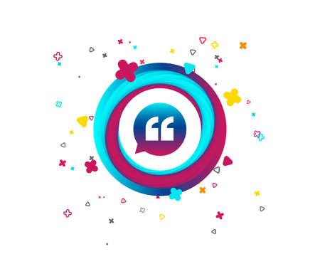 Quote sign icon. Quotation mark in speech bubble symbol. Double quotes. Colorful button with icon. Geometric elements. Vector 向量圖像