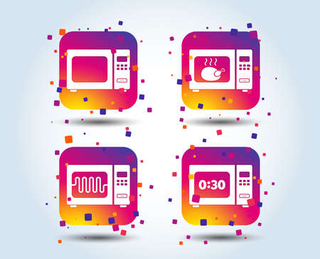 Microwave oven icons. Cook in electric stove symbols. Grill chicken with timer signs. Colour gradient square buttons. Flat design concept. Vector