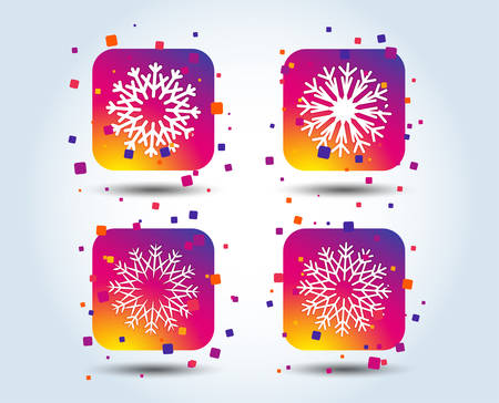 Snowflakes artistic icons. Air conditioning signs. Christmas and New year winter symbols. Colour gradient square buttons. Flat design concept. Vector