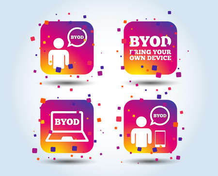 BYOD icons. Human with notebook and smartphone signs. Speech bubble symbol. Colour gradient square buttons. Flat design concept. Vector