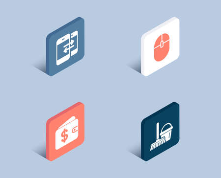 Set of Phone communication, Dollar wallet and Computer mouse icons. Bucket with mop sign. Incoming and outgoing calls, Cash money, Pc equipment. Cleaner equipment.  3d isometric buttons. Vector