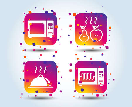 Microwave grill oven icons. Cooking apple and pear signs. Food platter serving symbol. Colour gradient square buttons. Flat design concept. Vector