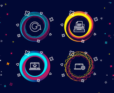 Set of Typewriter, Website education and Reload icons. Notebook service sign. Writer machine, Video learning, Update. Computer repair.  Circle banners with line icons. Gradient colors shapes. Vector Ilustrace