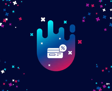Credit card simple icon. Banking Payment card with Discount sign. Cashback service symbol. Cool banner with icon. Abstract shape with gradient. Vector
