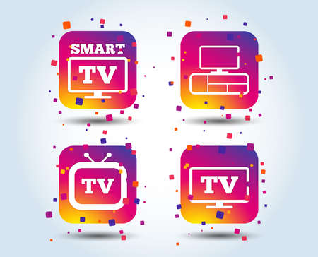 Smart TV mode icon. Widescreen symbol. Retro television and TV table signs. Colour gradient square buttons. Flat design concept. Vector
