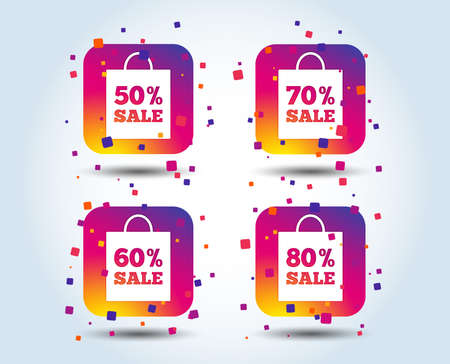 Sale bag tag icons. Discount special offer symbols. 50%, 60%, 70% and 80% percent sale signs. Colour gradient square buttons. Flat design concept. Vector